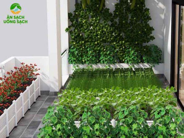 Khu vườn có thể trồng rau kết hợp với trồng hoa