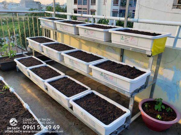 Kệ sắt trồng rau tam cấp